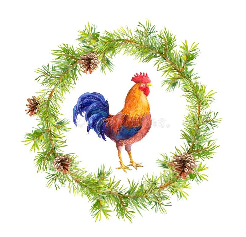 Guirnalda del Año Nuevo, gallo del gallo y ramas de árbol de navidad watercolor stock de ilustración