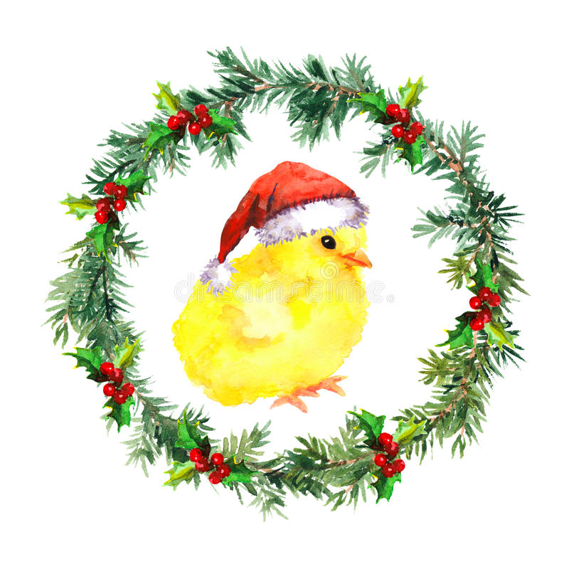 Guirnalda del Año Nuevo - pollo del bebé de la Navidad en sombrero rojo del ` s de santa Pájaro de la acuarela libre illustration