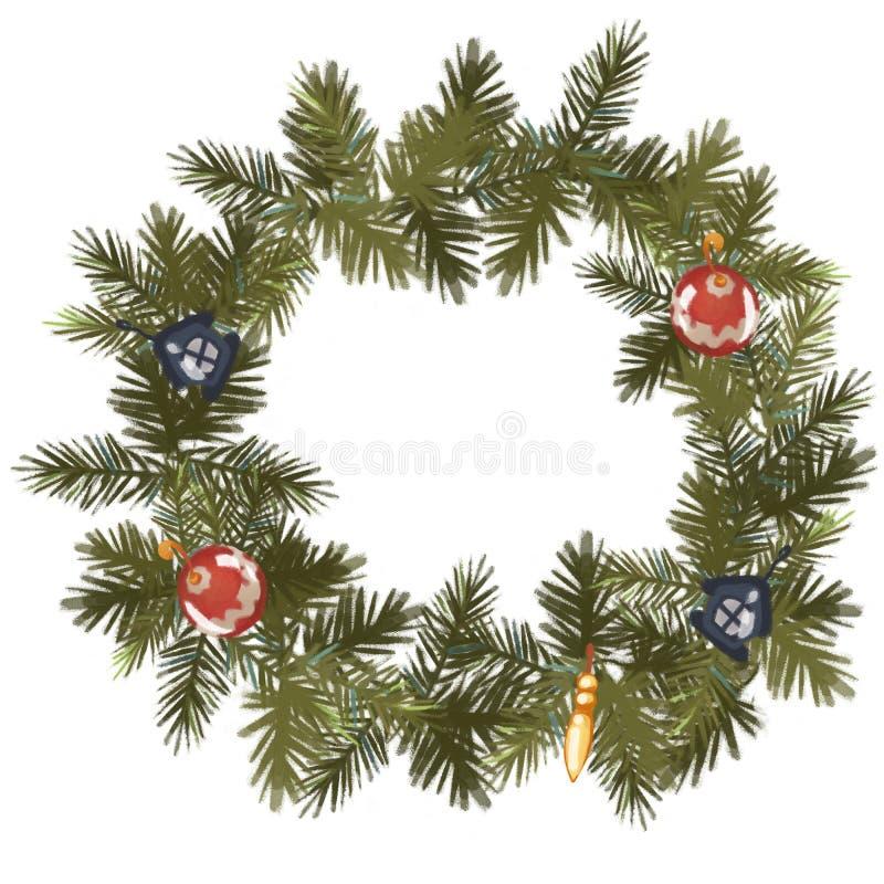 Guirnalda del abeto de la Navidad adornada con los juguetes Capítulo Aislado en el fondo blanco ilustración del vector