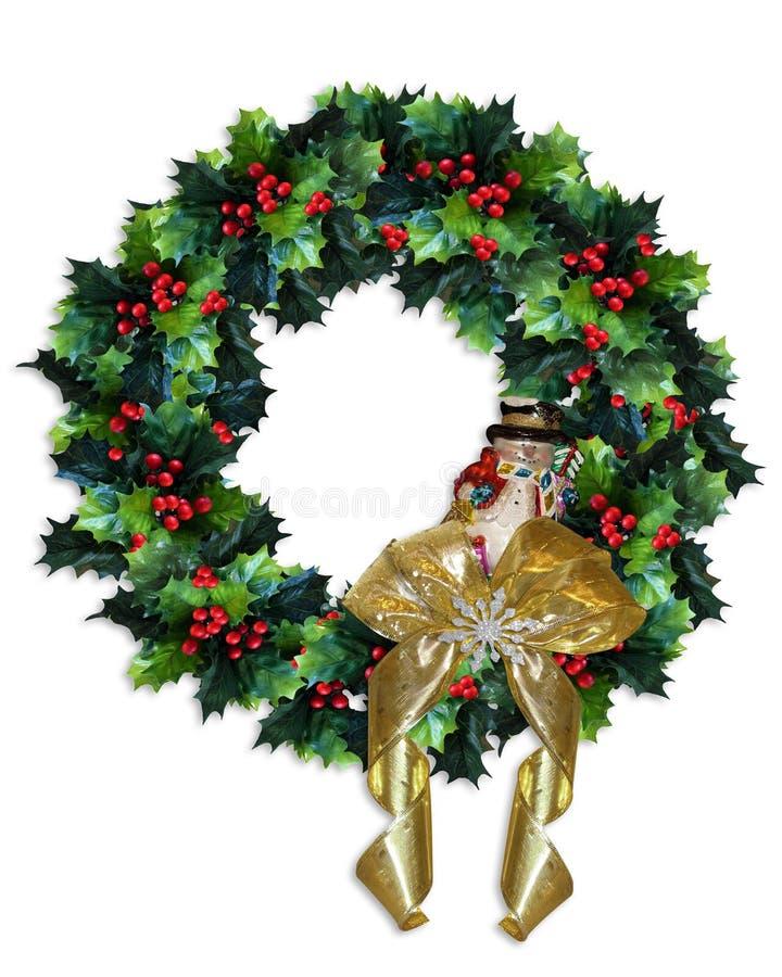 Guirnalda del acebo de la Navidad stock de ilustración