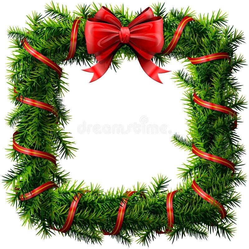 Guirnalda del cuadrado de la Navidad con el arco y la cinta rojos ilustración del vector