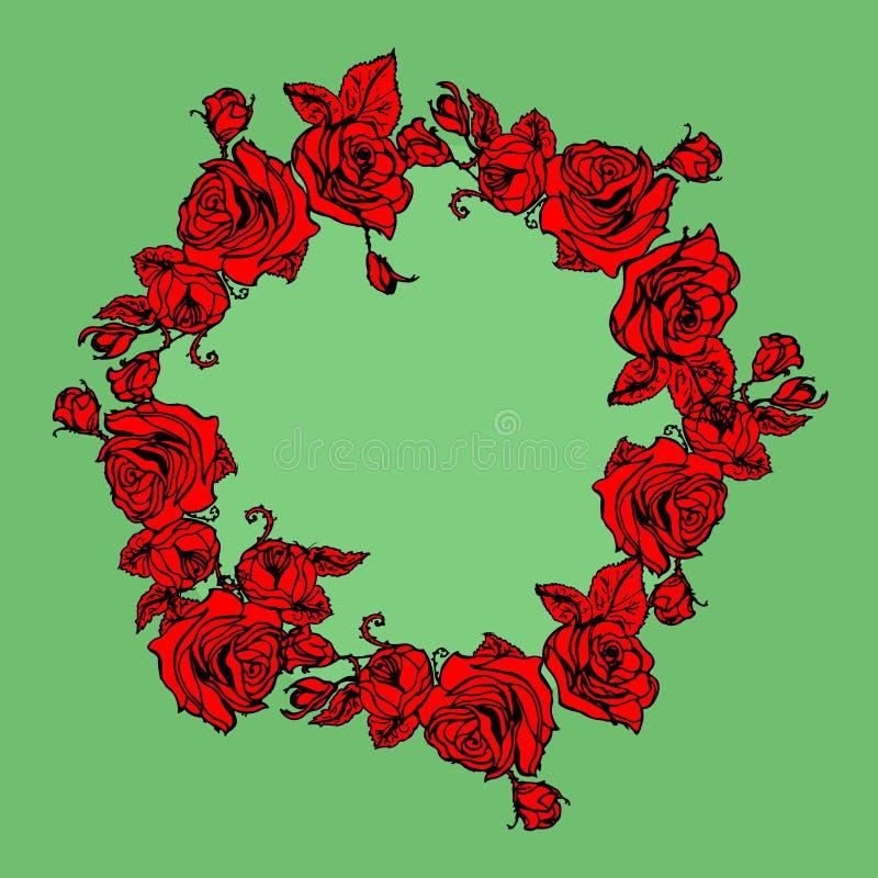 Guirnalda del ejemplo con las rosas rojas libre illustration