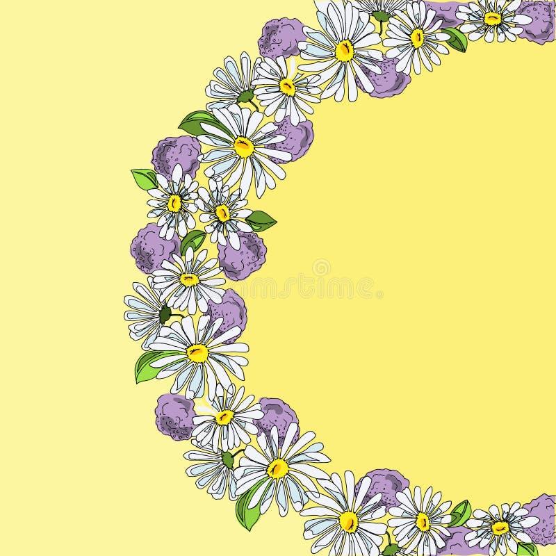 Guirnalda del ejemplo de las margaritas y de las hortensias, mano dibujada ilustración del vector