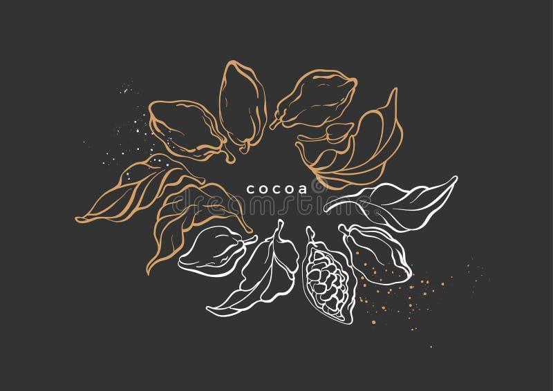 Guirnalda del gráfico de vector del cacao, rama ilustración del vector