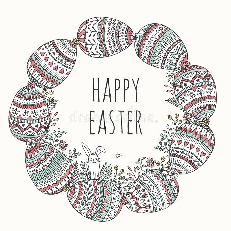 Guirnalda del huevo de Pascua con poco conejito stock de ilustración