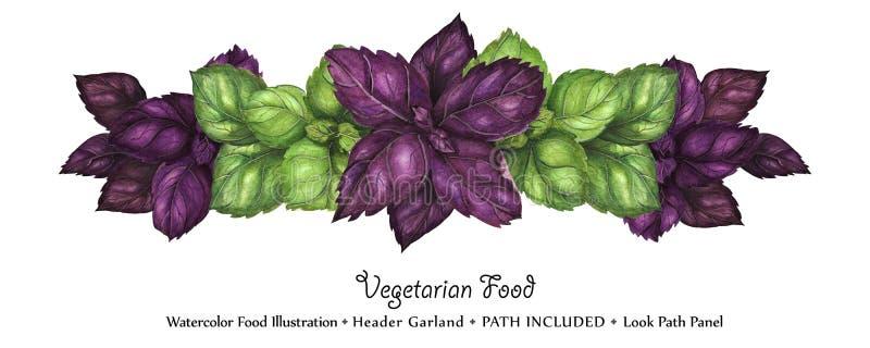Guirnalda del jefe de la acuarela por las hojas frescas de la albahaca libre illustration