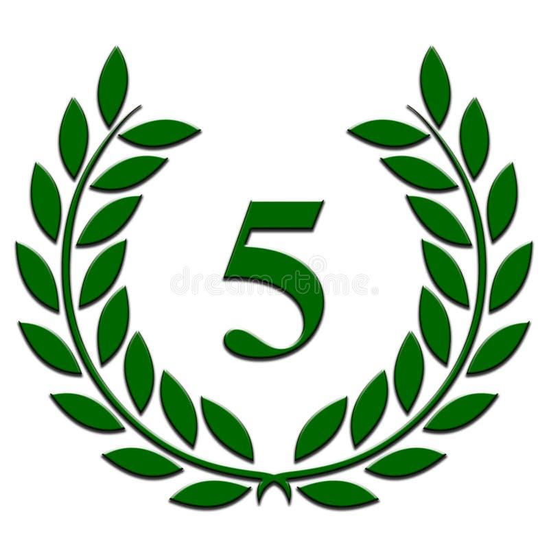 Guirnalda del laurel aniversario de 5 años en un fondo blanco ilustración del vector