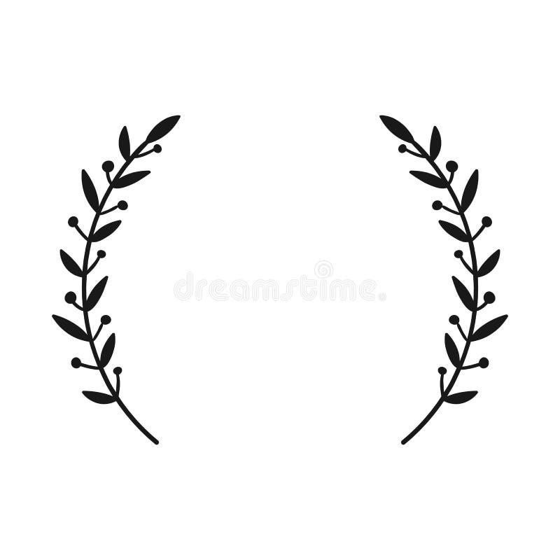 Guirnalda del laurel Dé a vector exhausto el marco redondo para las invitaciones, las tarjetas de felicitación, las citas, los lo stock de ilustración