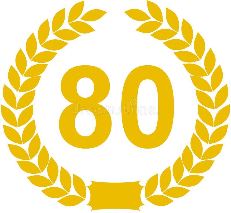Guirnalda del laurel de 80 años stock de ilustración