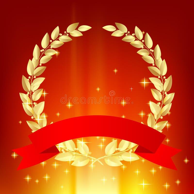 Guirnalda del laurel del oro con la cinta roja en backgro chispeante luminoso stock de ilustración