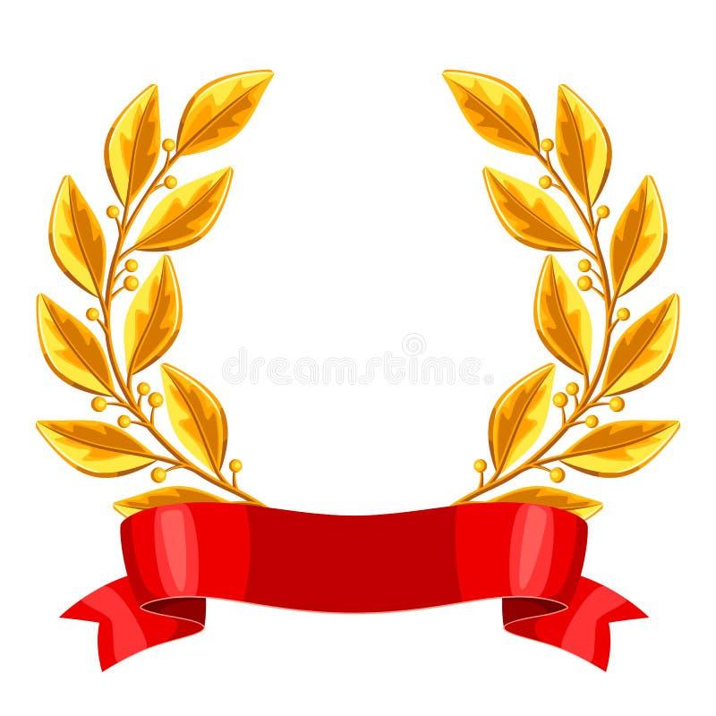 Guirnalda del laurel del oro de Realictic con la cinta roja Ejemplo del premio para los deportes o las competencias corporativas libre illustration