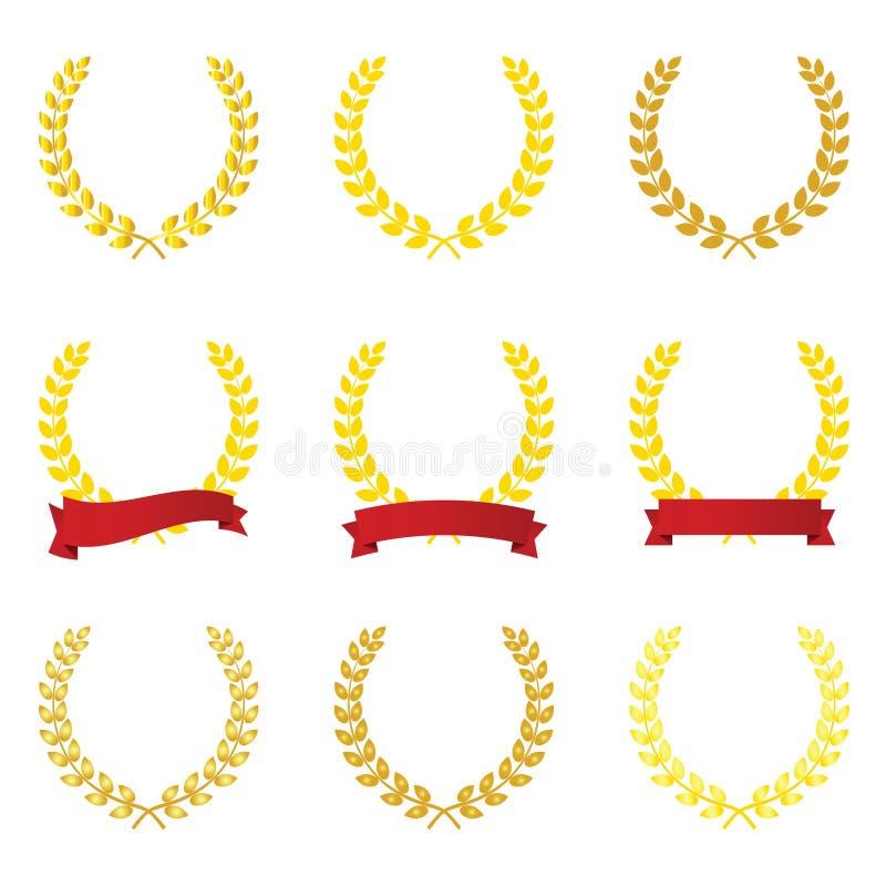 Guirnalda del laurel del oro con vector rojo de la cinta stock de ilustración