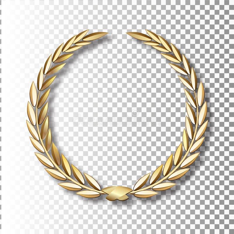 Guirnalda del laurel del oro del vector Guirnalda del laurel con la cinta de oro ilustración del vector