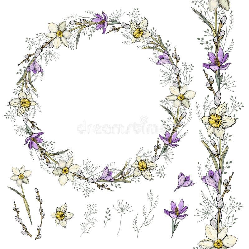 Guirnalda del narciso y del azafrán y cepillo decorativo stock de ilustración