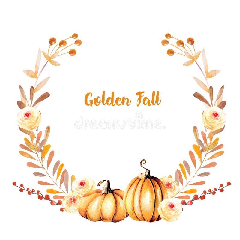 Guirnalda del otoño con las calabazas de la acuarela, las ramas de árbol, las flores de la caída y las bayas stock de ilustración