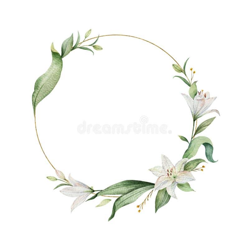 Guirnalda del vector de la acuarela de las flores del lirio y de las hojas verdes stock de ilustración
