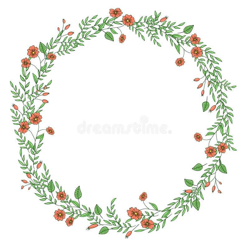 Guirnalda del vector de las flores y de las hierbas del jard?n stock de ilustración