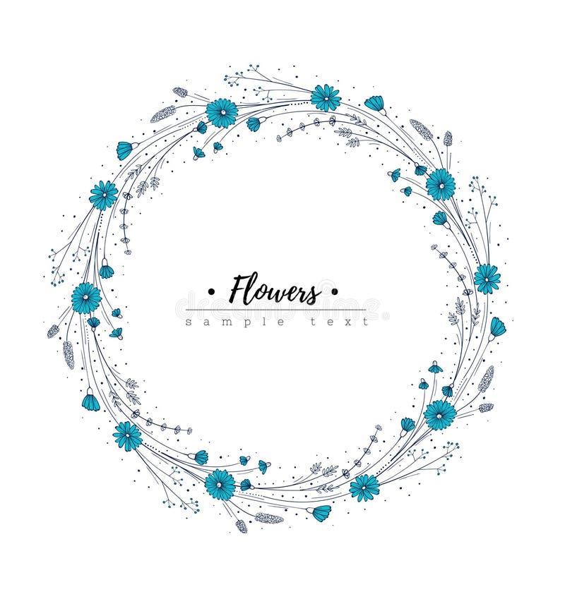 Guirnalda del Wildflower Plantilla del diseño floral Flor del garabato libre illustration