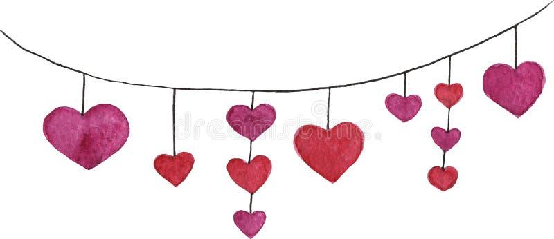 Guirnalda dibujada mano del corazón del vector de la acuarela con los corazones rojos stock de ilustración