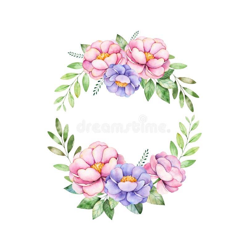 Guirnalda En Colores Pastel Floral Colorida Con La Peonía, Flores ...