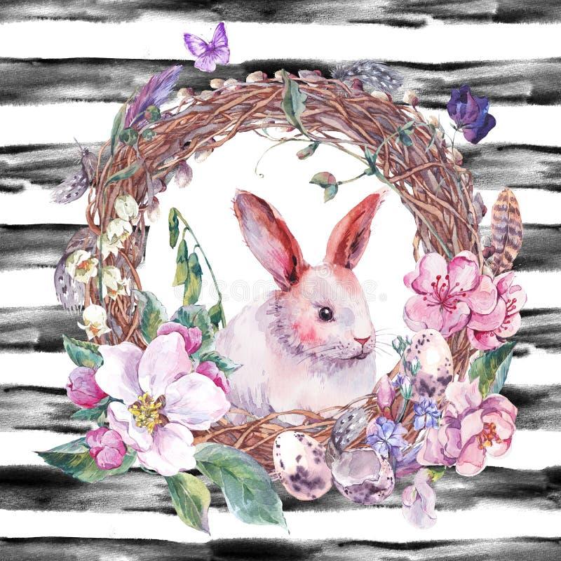 Guirnalda feliz de Pascua de la primavera de la acuarela ilustración del vector