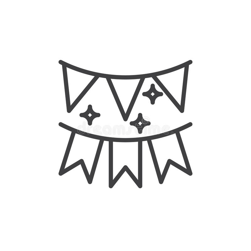 Guirnalda festiva de la línea de banderas icono, muestra del vector del esquema, pictograma linear del estilo aislado en blanco stock de ilustración
