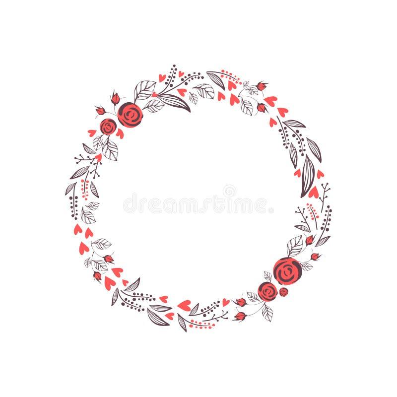 Guirnalda floral aislada en el fondo blanco ilustración del vector
