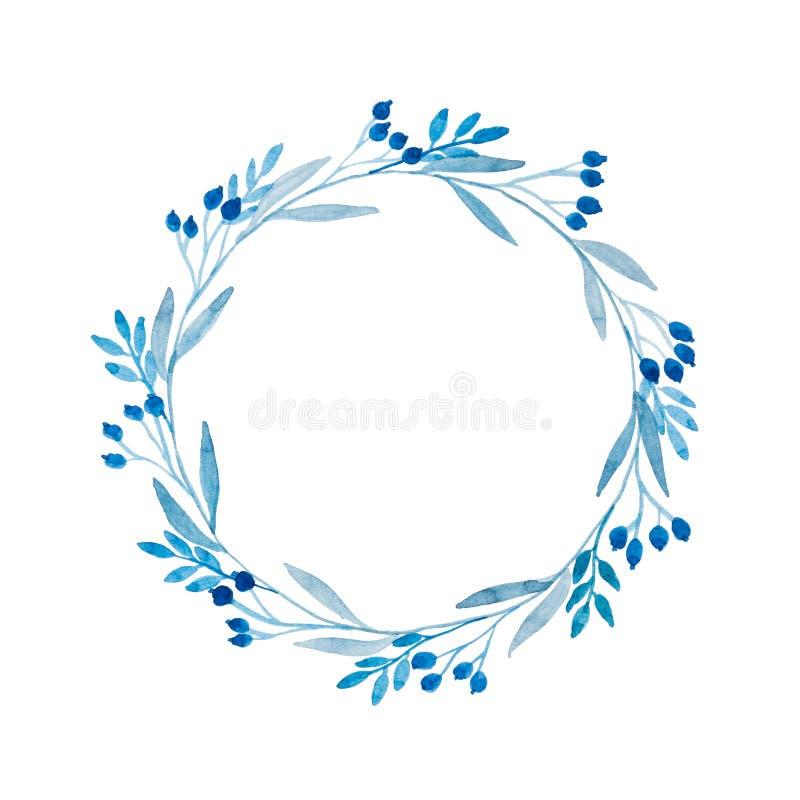 Guirnalda floral azul en acuarela foto de archivo libre de regalías