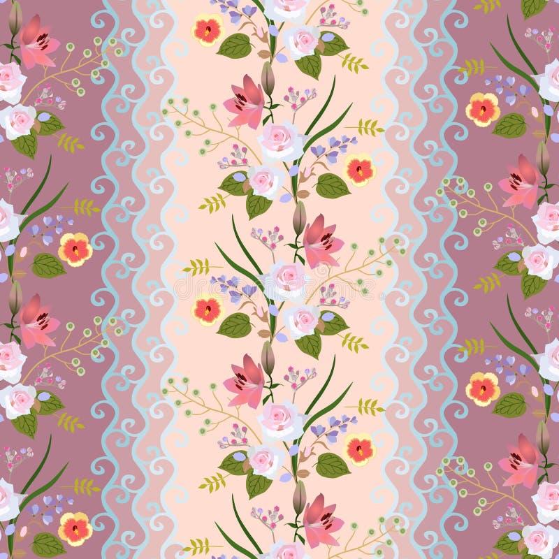 Guirnalda floral con el cordón estilizado en fondo beige y marrón blando en vector Ramos de lirios, de rosas y de flores del hibi ilustración del vector