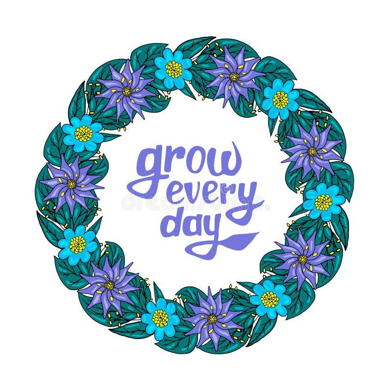 Guirnalda floral con el texto stock de ilustración