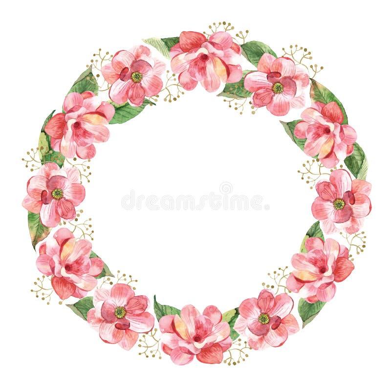 Guirnalda floral con la magnolia de la acuarela libre illustration