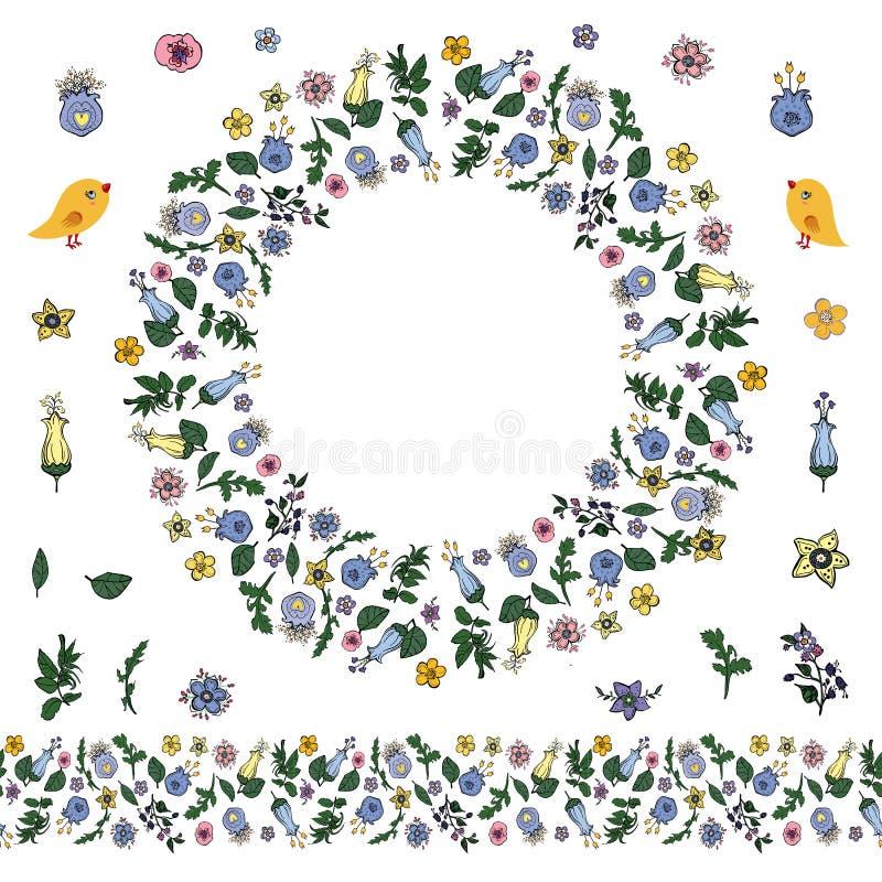 Guirnalda floral con las flores en garabatear estilo y el cepillo sin fin libre illustration