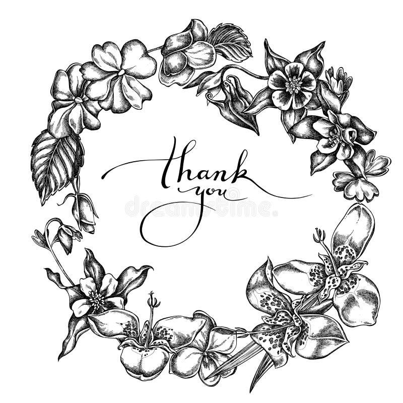 Guirnalda floral de impatiens blancos y negros, tigridia, aquilegia ilustración del vector