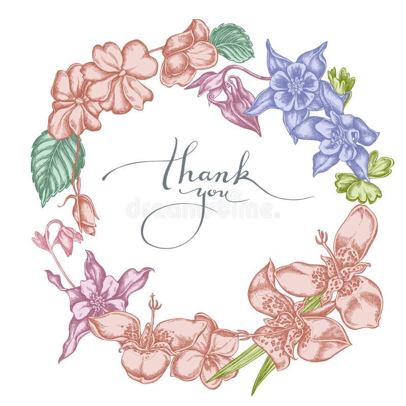 Guirnalda floral de impatiens en colores pastel, tigridia, aquilegia stock de ilustración