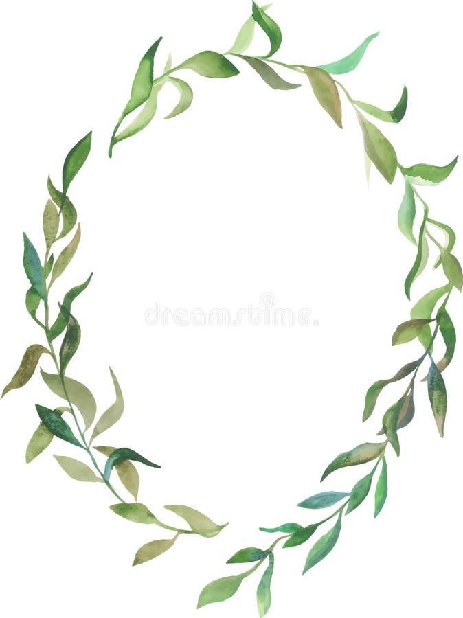 Guirnalda floral de la acuarela con las hojas verdes stock de ilustración
