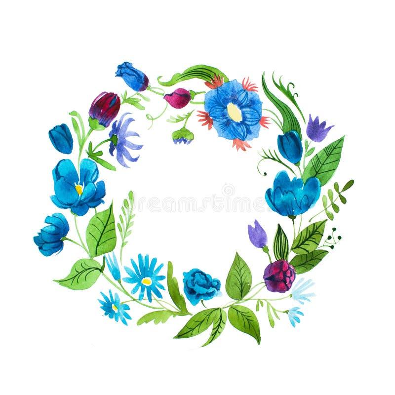 Guirnalda floral de la acuarela hecha de las flores salvajes azules aisladas en el fondo blanco ilustración del vector