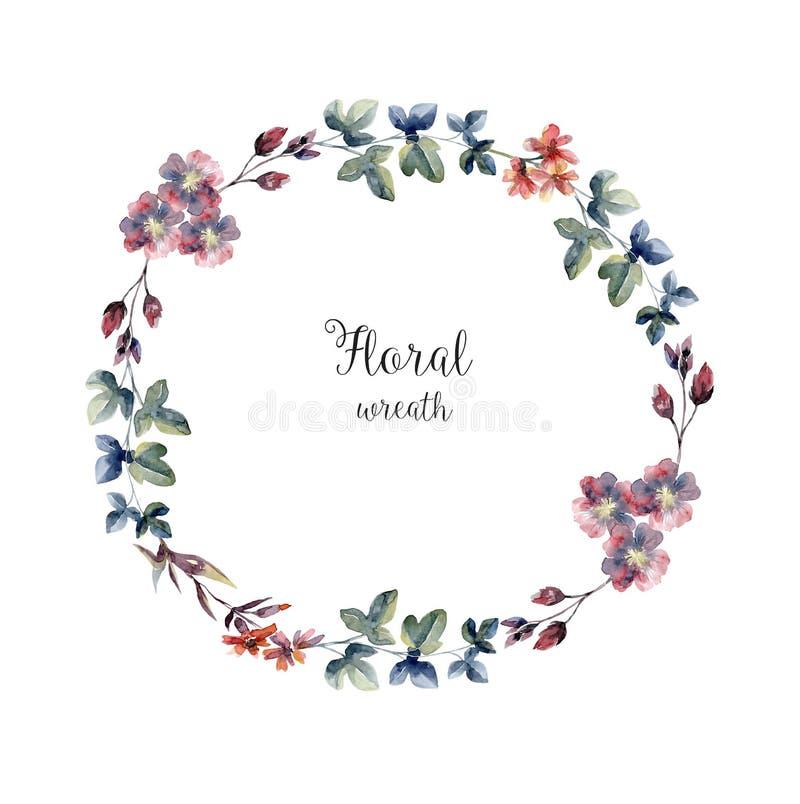Guirnalda floral de la acuarela, límite para la cubierta de la tarjeta ilustración del vector