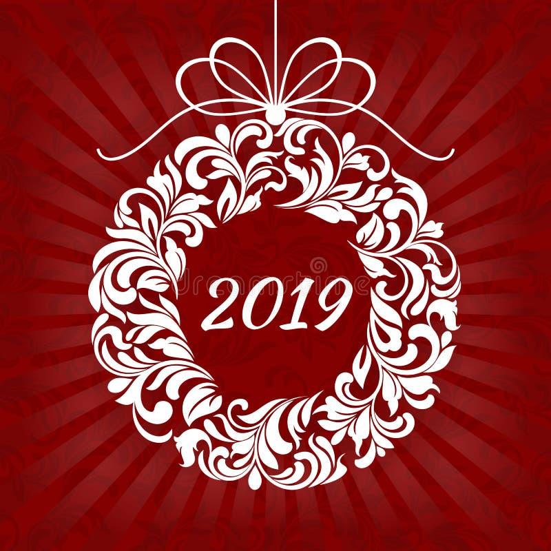 Guirnalda floral de la Navidad con 2019 en un fondo rojo con los rayos ilustración del vector