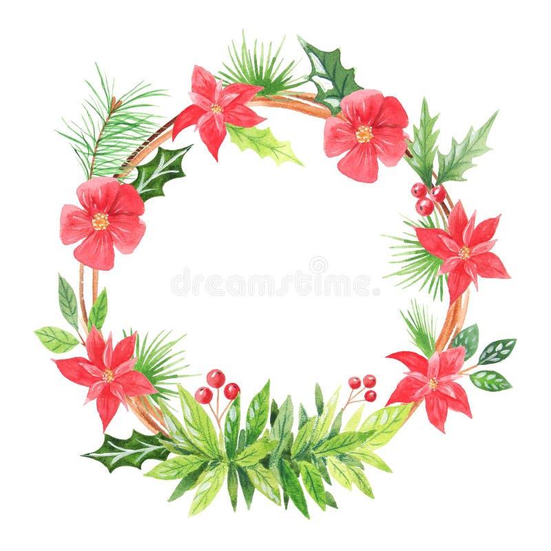 Guirnalda floral de la Navidad de la acuarela ilustración del vector