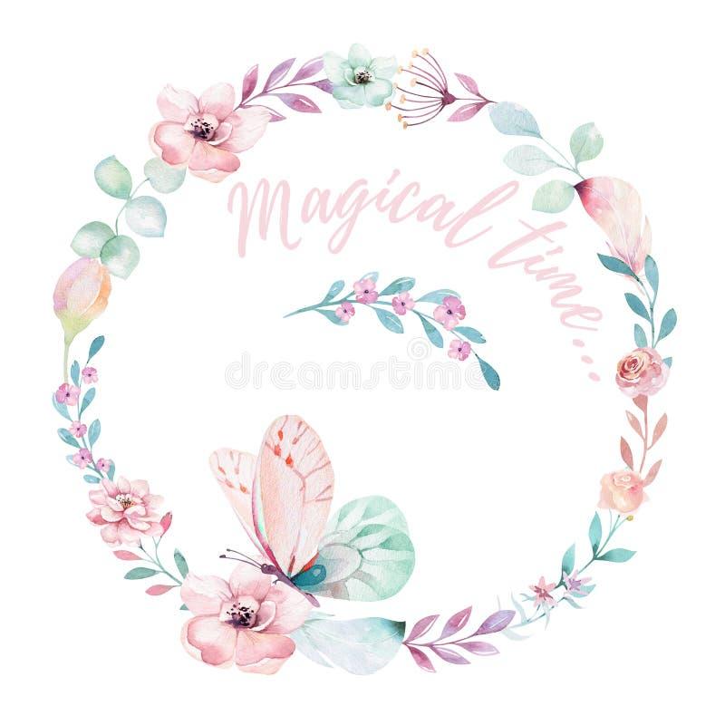 Guirnalda floral del boho de la acuarela Marco natural bohemio: hojas, plumas, flores, aisladas en el fondo blanco artístico ilustración del vector