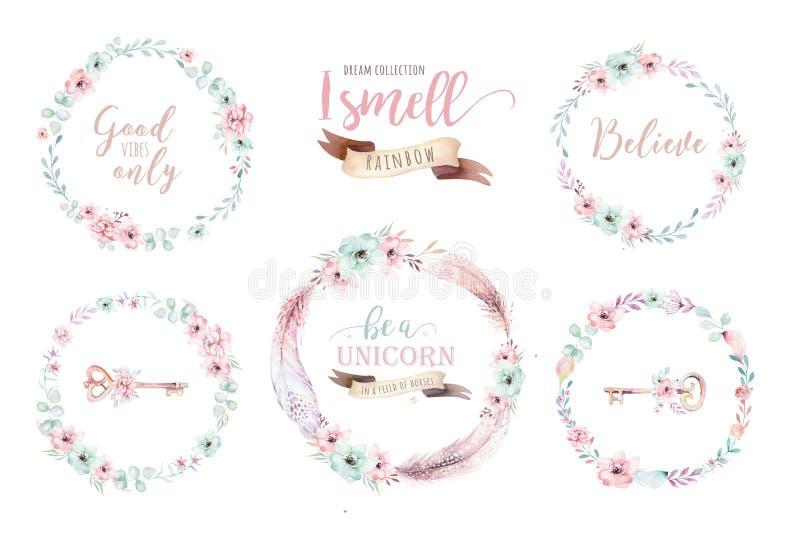 Guirnalda floral del boho de la acuarela Marco natural bohemio: hojas, plumas, flores, aisladas en el fondo blanco artístico libre illustration