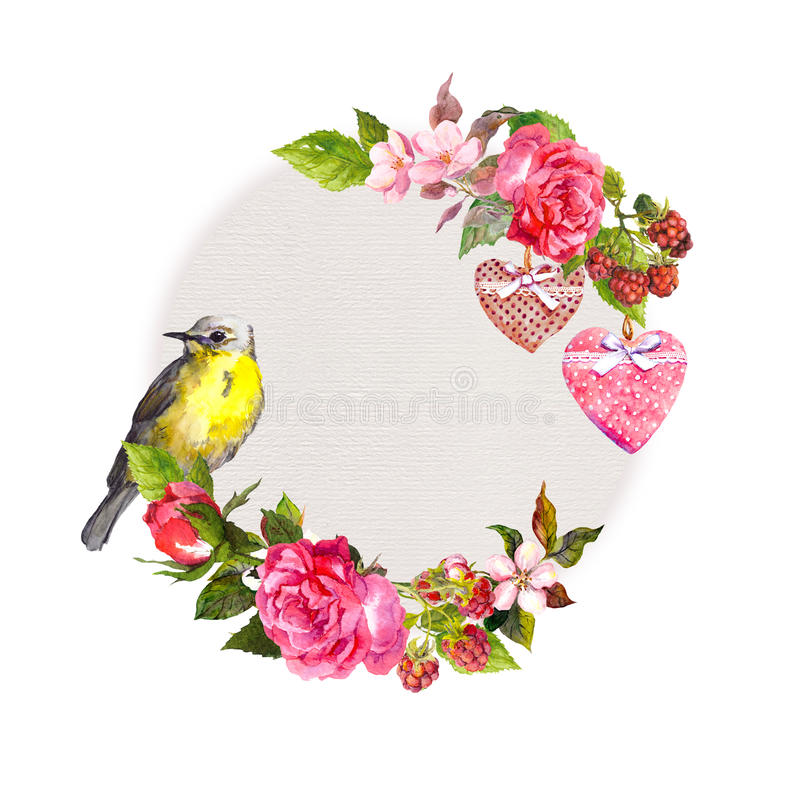Guirnalda floral del vintage para la invitación de boda, diseño de la tarjeta del día de San Valentín Flores, rosas, bayas, coraz stock de ilustración