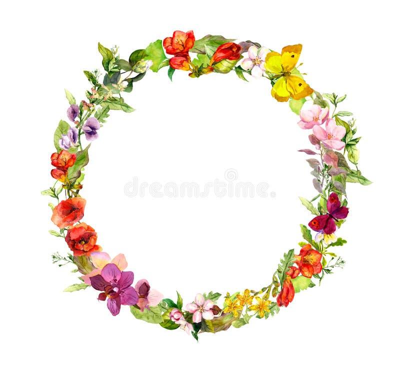 Guirnalda floral Flores del prado del verano, mariposas Acuarela ditsy del vintage stock de ilustración