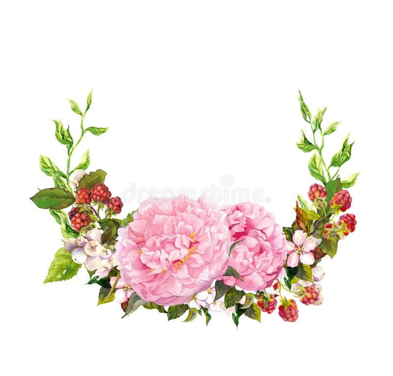 Guirnalda floral - flores rosadas de la peonía Ahorre la tarjeta de fecha para casarse watercolor imagen de archivo