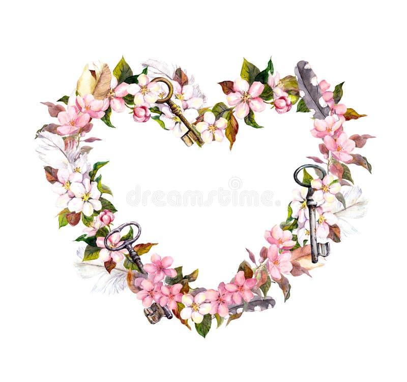 Guirnalda floral - forma del corazón Flores rosadas, plumas, llaves Acuarela para el día de San Valentín, casandose ilustración del vector