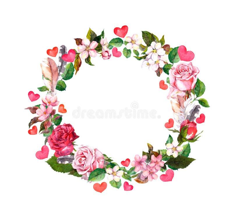 Guirnalda floral - las rosas florecen, las plumas, corazones Frontera redonda de la acuarela para el día de San Valentín, casando libre illustration
