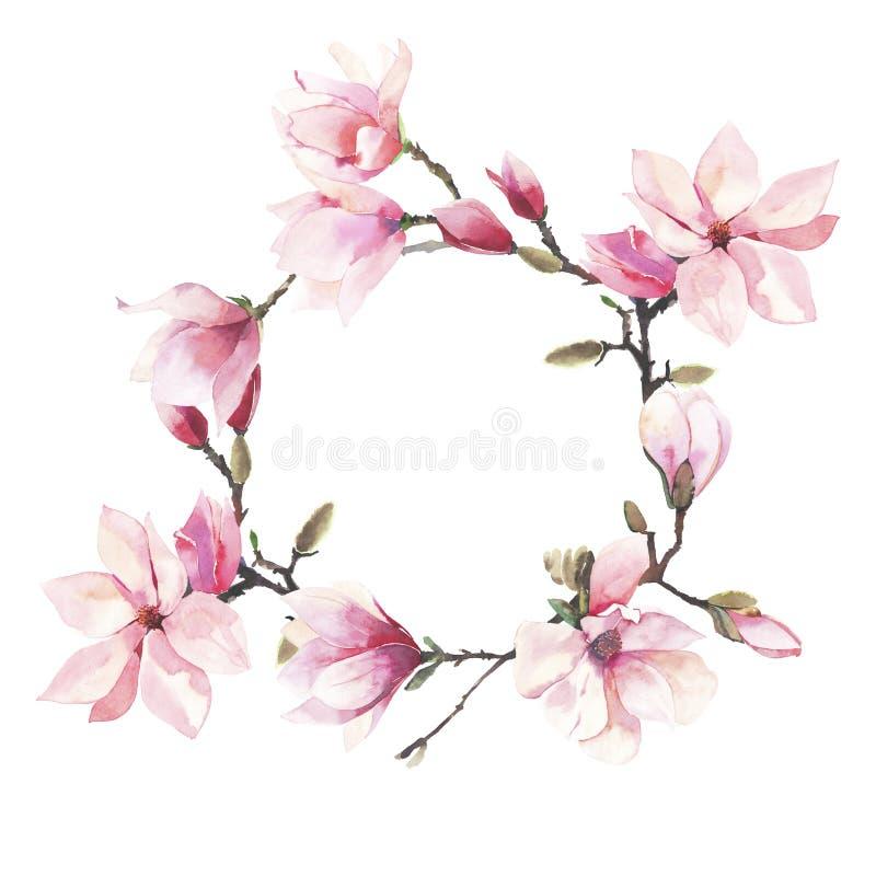 Guirnalda floral maravillosa herbaria del verano de la oferta preciosa hermosa de una acuarela japonesa rosada de las flores de l libre illustration