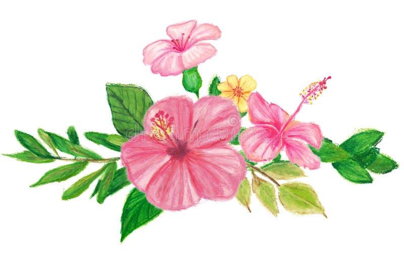 Guirnalda floral pintada a mano con los creyones de la panda del aceite ilustración del vector