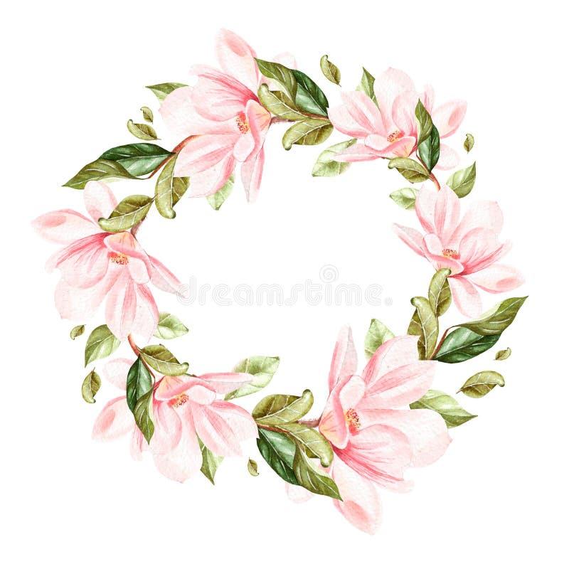 Guirnalda hermosa, brillante de la acuarela con la magnolia ilustración del vector