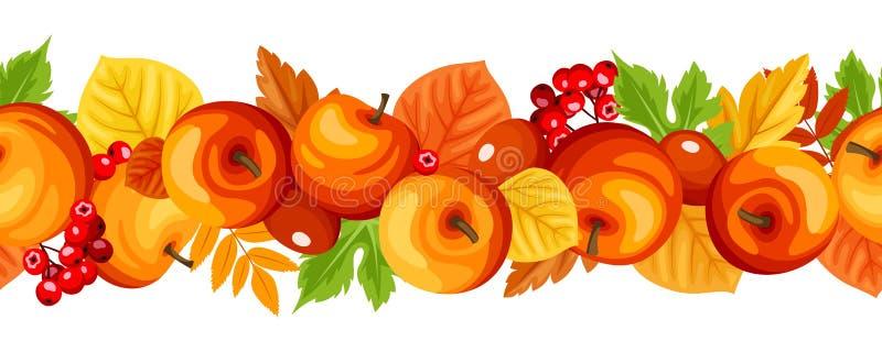 Guirnalda inconsútil horizontal con las manzanas y las hojas del otoño Ilustración del vector libre illustration
